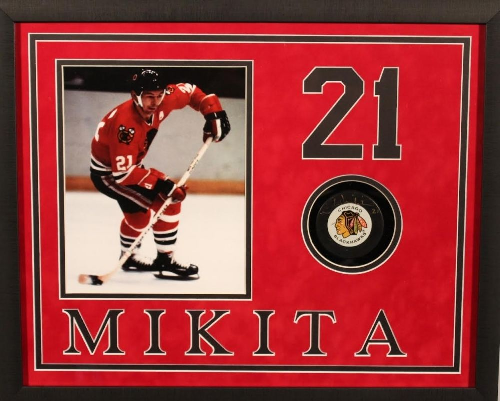 Stan Mikita Signed Blackhawks 17x21x2 Custom Framed Hockey Puck Display (JSA)