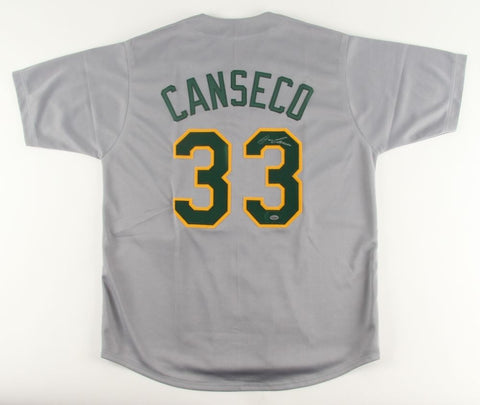 Jose Canseco Signed Athletics Jersey (Leaf) 2× World Series champion /1989, 2000
