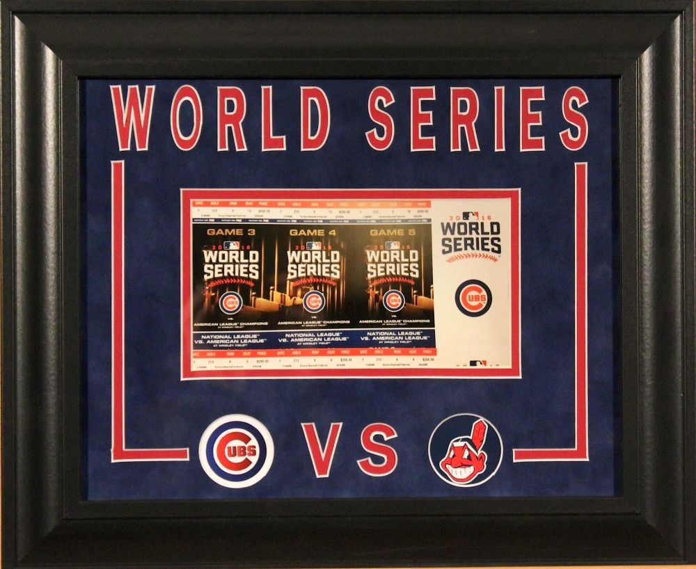 2016 World Series Cubs vs Indians 14x17 Custom Framed / Matted Ticket Display