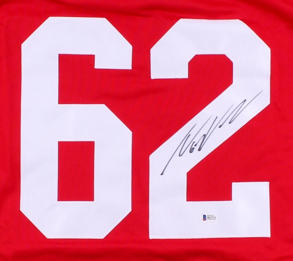 Thomas Vanek Signed Red Wings Jersey (Beckett) 5th Overall pick 2003 NHL Draft