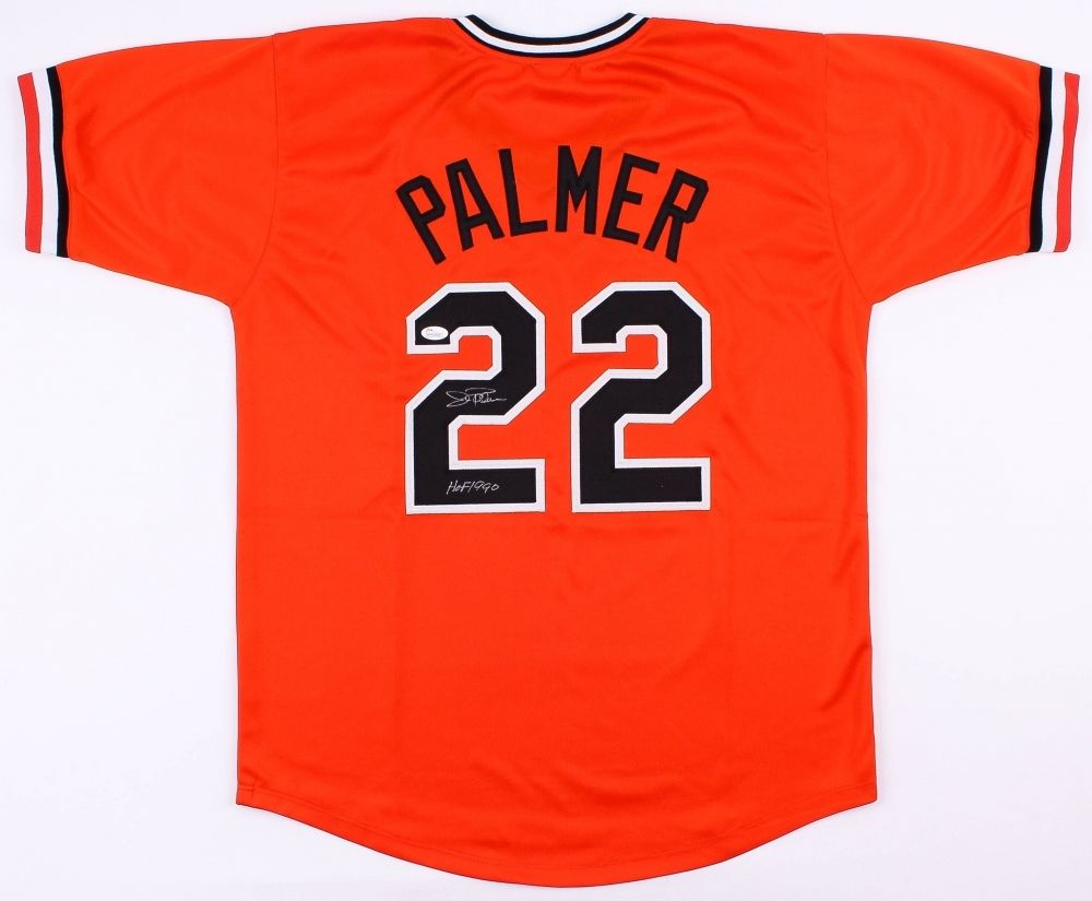 Jim Palmer Signed Baltimore Orioles Jersey (Leaf) 3X World Champ