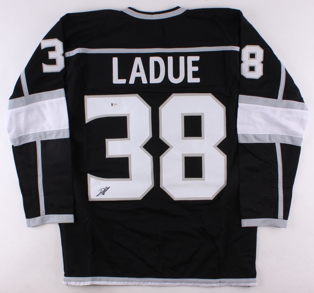 Paul LaDue Signed Kings Black Jersey (Beckett) Los Angeles Rookie Defenseman