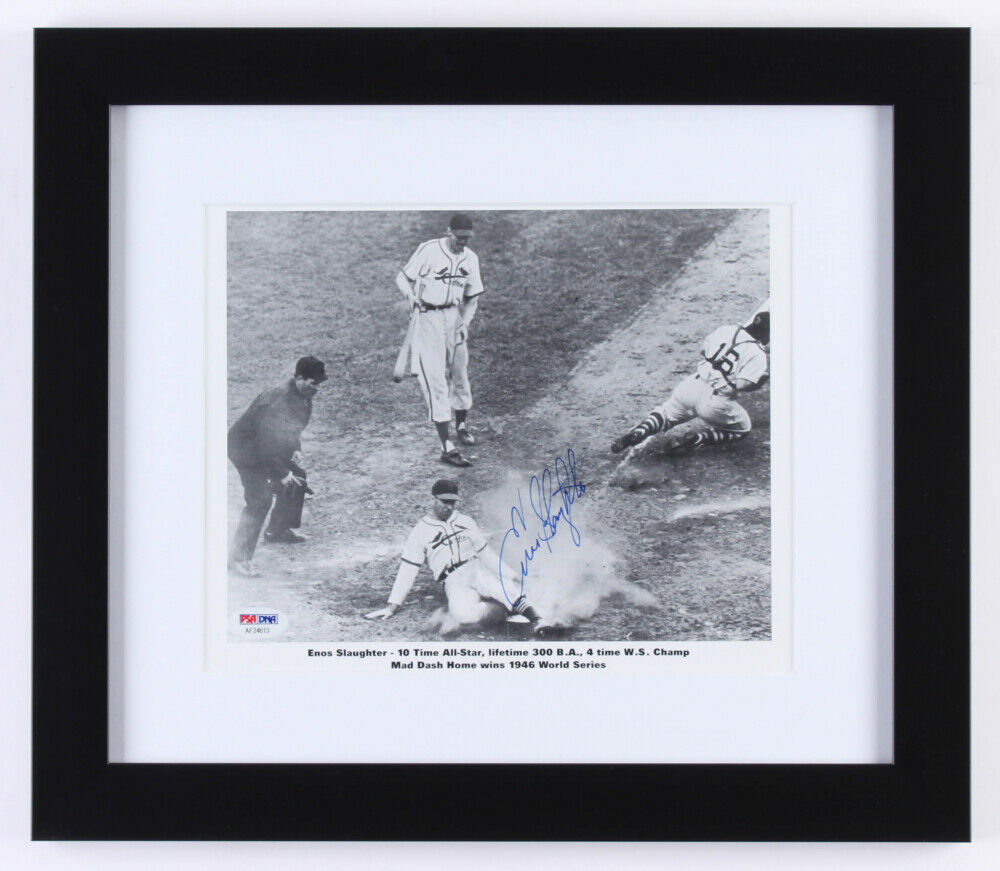 Enos Slaughter Signed St.Louis Cardinals 13x15 Custom Framed Photo Display (PSA)