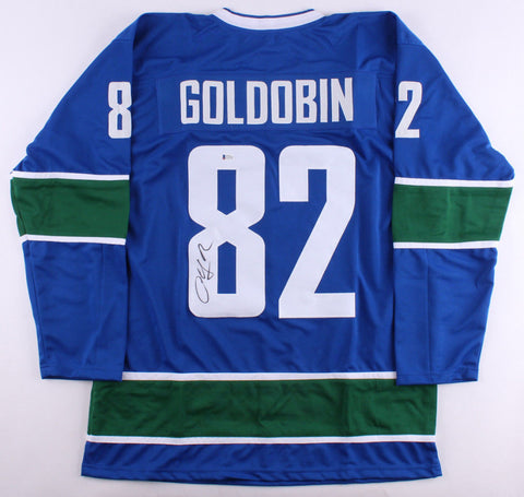 Nikolay Goldobin Signed Canucks Jersey (Beckett COA) Vancouver Rookie Right Wing