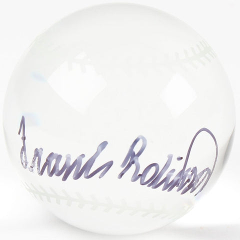 Frank Robinson Signed Crystal Baseball With Display Case (PSA COA) 500 HR Club