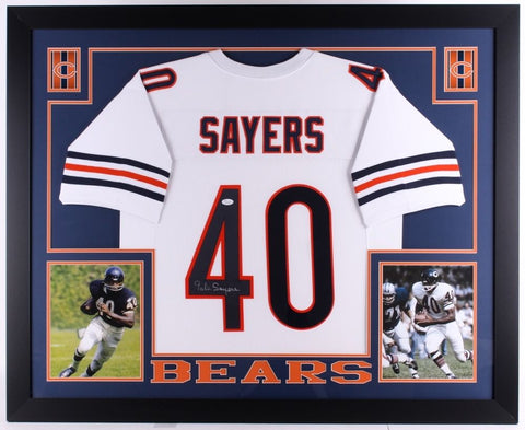 "Gale Sayers Signed Bears 35"" x 43"" Custom Framed Jersey (JSA) 1965 NFL R.O.Y."