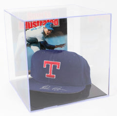 Nolan Ryan Signed Rangers Baseball Cap with High Quality Display Case (PSA COA)