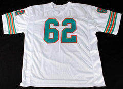 "Jim Langer Signed Dolphins Jersey Inscribed ""HOF 87"" (JSA COA) 1972 Miami 17-0"