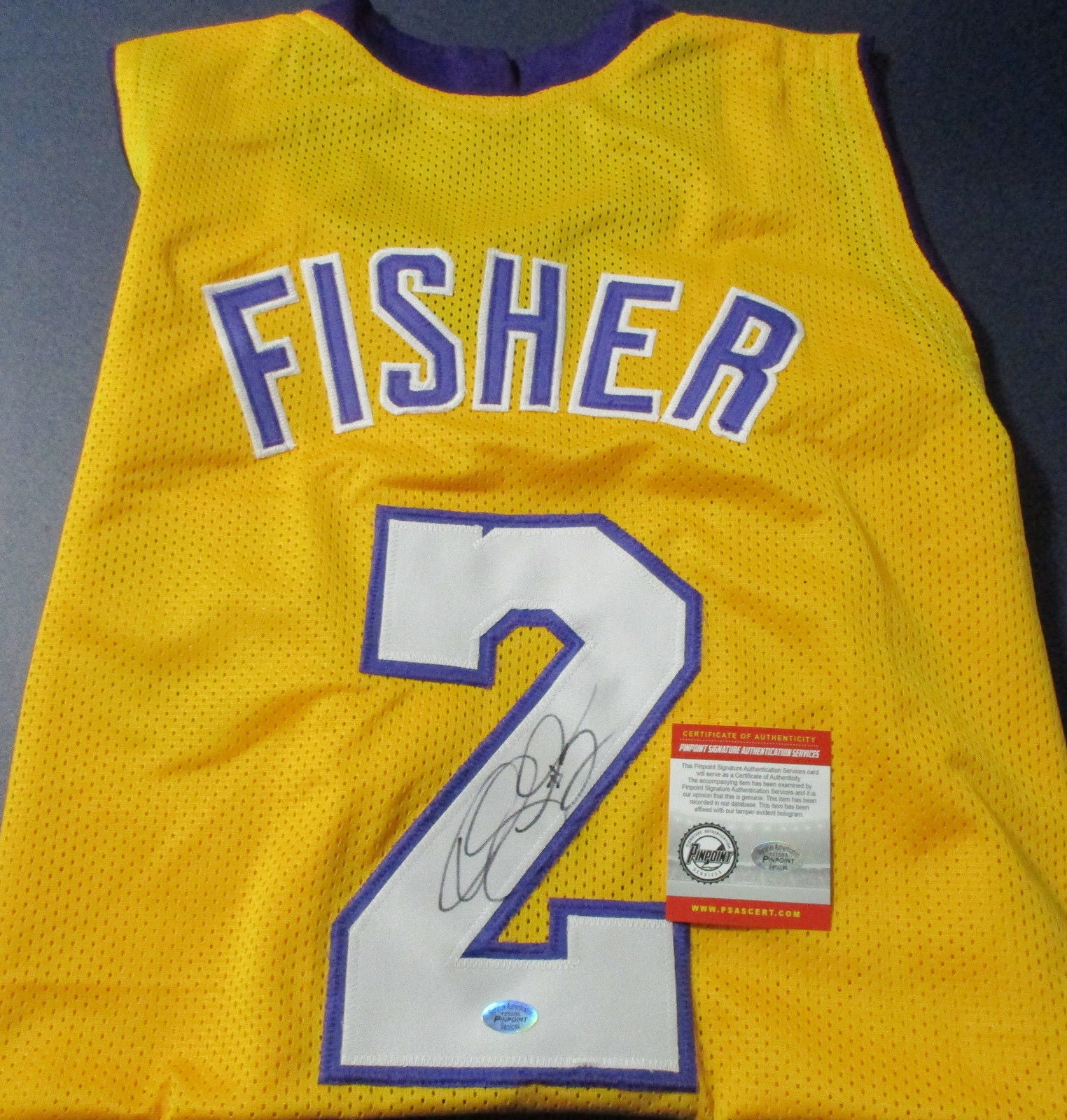 1a1ea05af94 Derrick Fisher Signed Lakers Jersey   5×NBA champion (2000–2002 ...