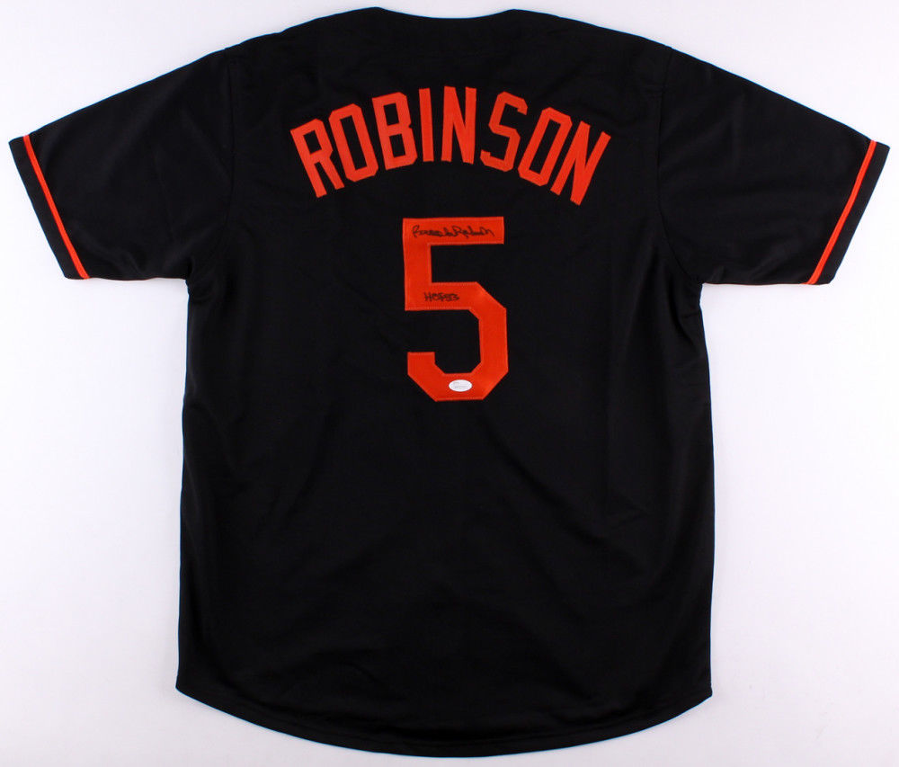 0c5369fe9 Brooks Robinson Signed Black Orioles Jersey Inscribed