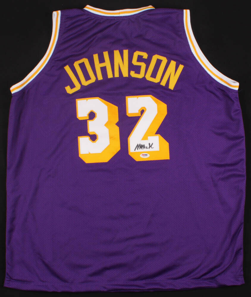Magic Johnson Signed Los Angeles Lakers Purple Jersey (PSA/DNA COA) 5xNBA Champ
