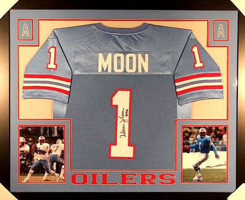 "Warren Moon Signed Houston Oilers 35"" x 43"" Custom Framed Jersey (JSA COA)"