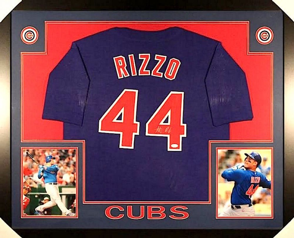 Anthony Rizzo Signed Cubs 35x43 Custom Framed Jersey (JSA COA)
