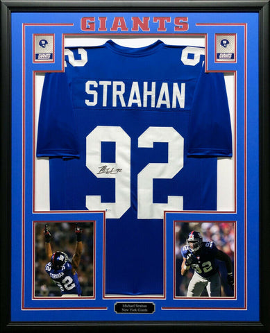 Michael Strahan Signed Giants 35x43 Framed Jersey Super Bowl XLII Champ  Beckett