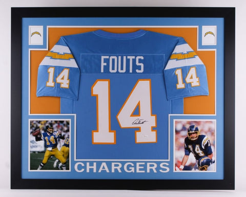 Dan Fouts Signed Chargers 35x43 Custom Framed Jersey (JSA) NFL MVP !982