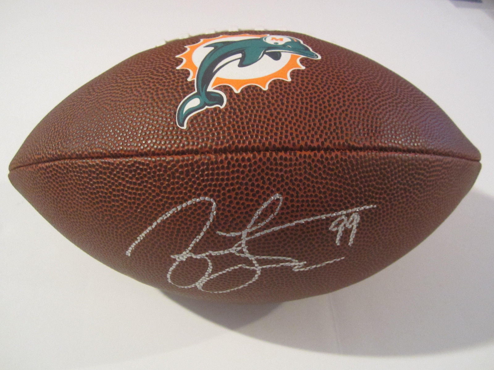 timeless design 4a7cf 2e22d Jason Taylor Miami Dolphins Hand Signed Autographed Logo Football COA