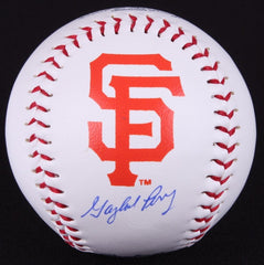 Gaylord Perry Signed Giants Logo OML Baseball (Schwartz) Hall of Fame Pitcher