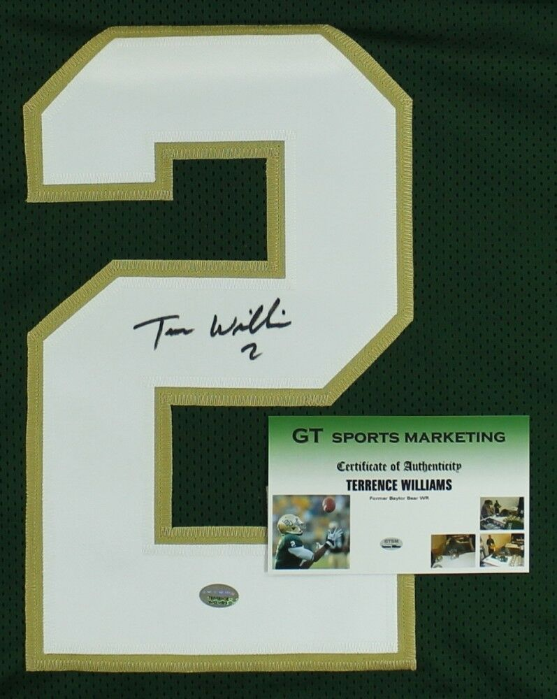 Terrance Williams Signed Baylor Bears Green Jersey (GTSM COA) Dallas Cowboys W.R