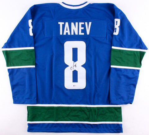 Christopher Tanev Signed Canucks Jersey (Becket COA) Veteran Vancouver defense