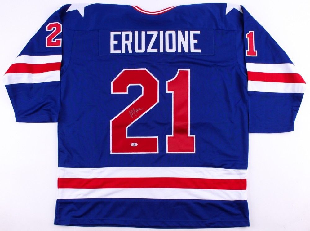 "Mike Eruzione Signed Team USA ""Miracle on Ice"" Jersey (Beckett) Team Captain"