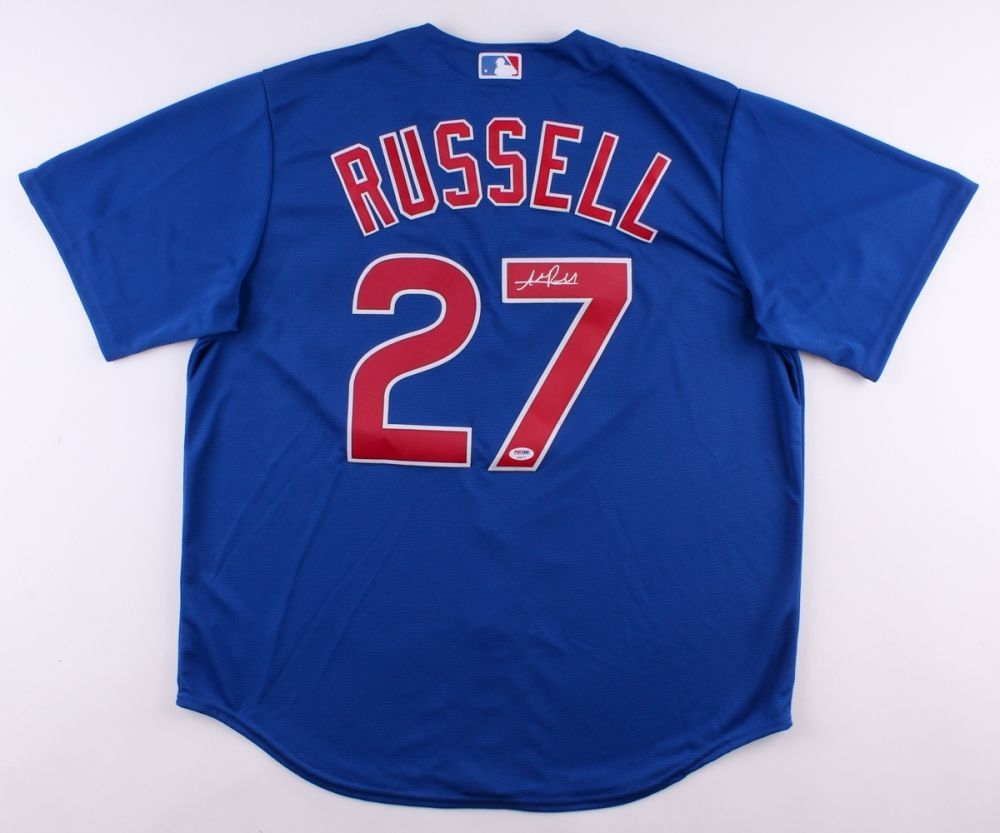 cee0668e8 ... buy addison russell signed cubs jersey psa world series champion 2016  all star f566b 386fb
