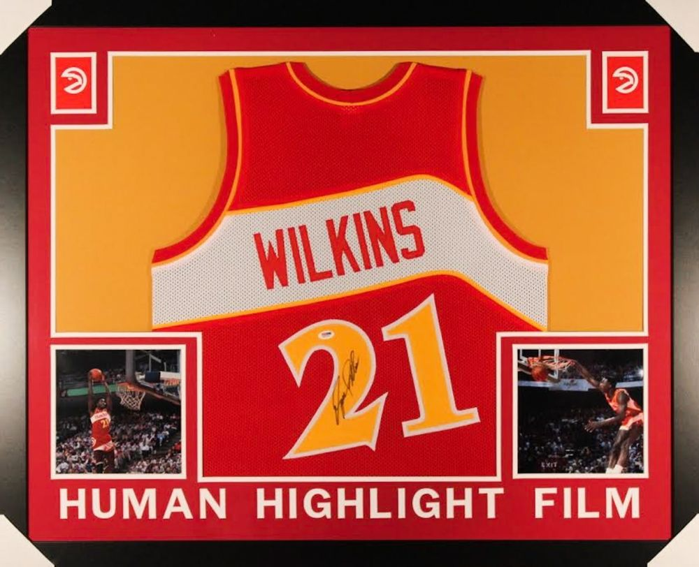 DOMINIQUE WILKINS AUTOGRAPHED FRAMED / MATTED ATLANTA HAWKS JERSEY