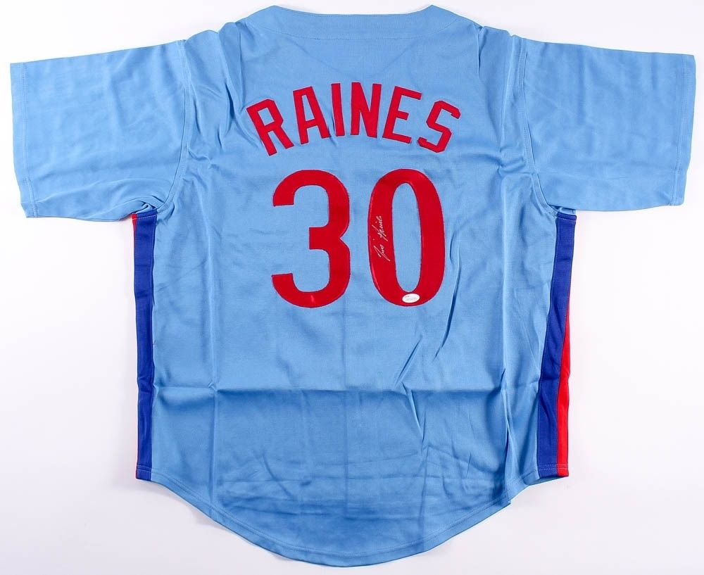 Tim Raines Signed Montreal Expos Jersey (JSA COA) 1986 NL Batting Champ