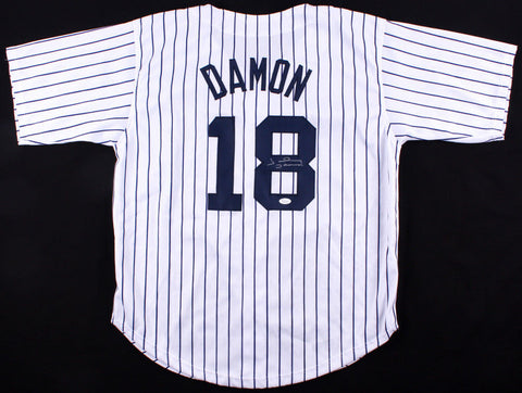Johnny Damon Signed New York Yankees Home Pinstripped Jersey (JSA COA)