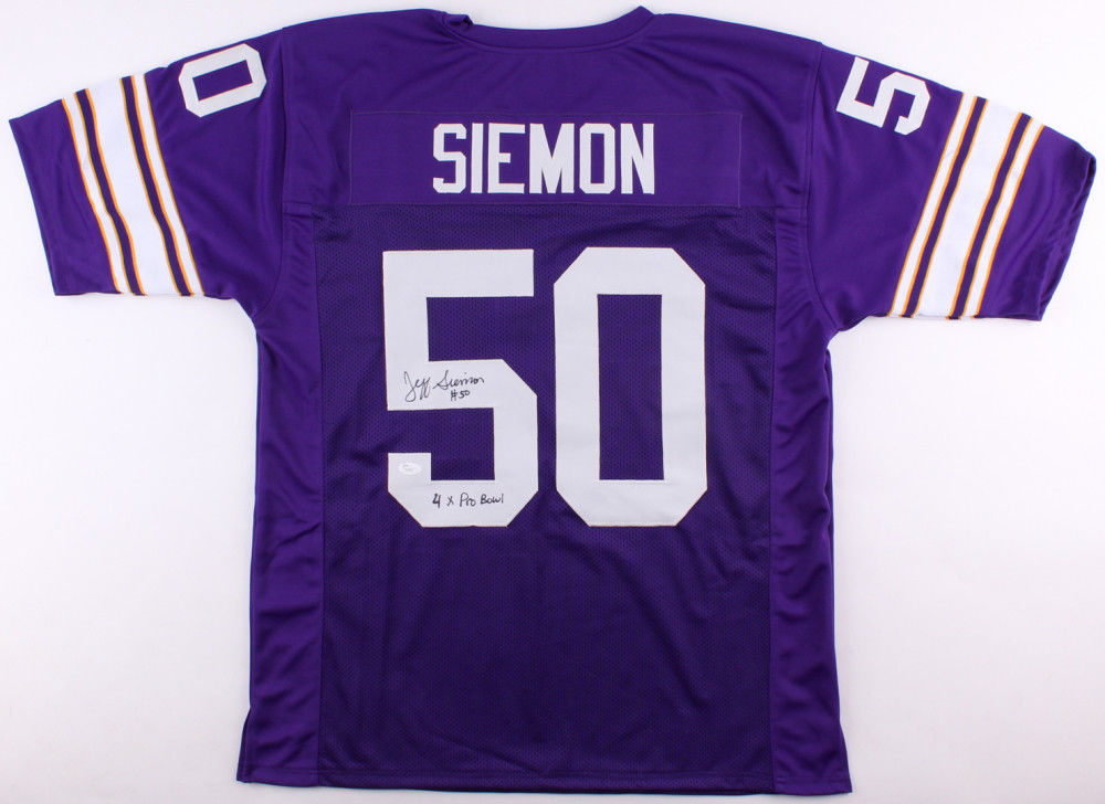 newest 6207a be040 Jeff Siemon Signed Vikings Jersey Inscribed