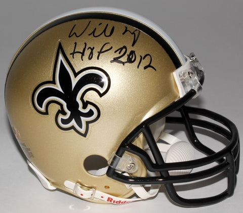 "Willie Roaf Signed Saints Mini Helmet Inscribed ""HOF 2012"" (MAB Hologram)"