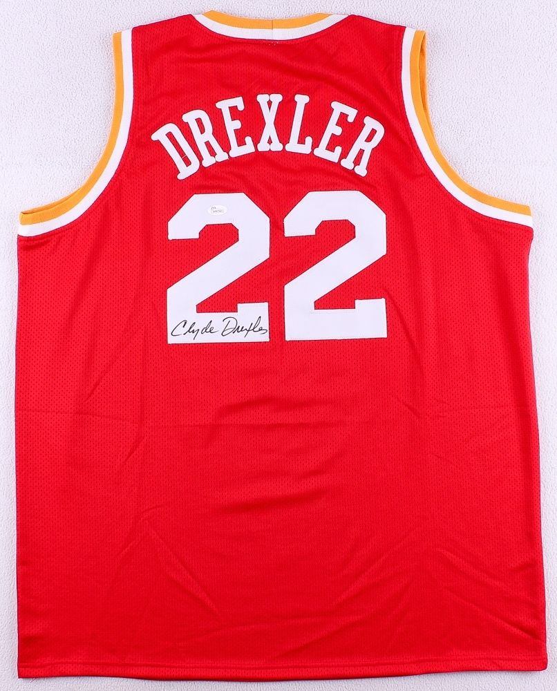 f7d0f842aa9 ... reduced clyde the glide drexler signed houston rockets throwback jersey  jsa coa 826cd b92fb