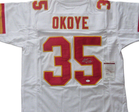 bc1816bab Christian Okoye Signed Kansas City Chiefs White Jersey (JSA COA) Running  Back