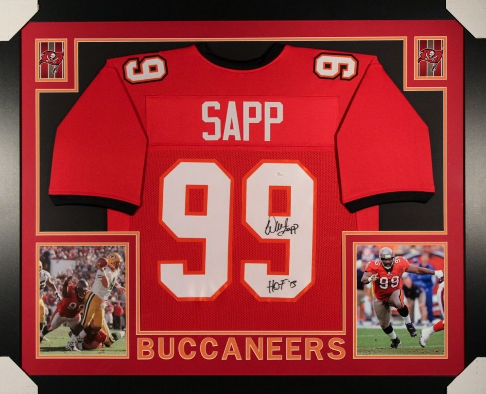 new styles f018b a4fd8 Warren Sapp Signed Buccaneers 35x43 Custom Framed Jersey Inscribed