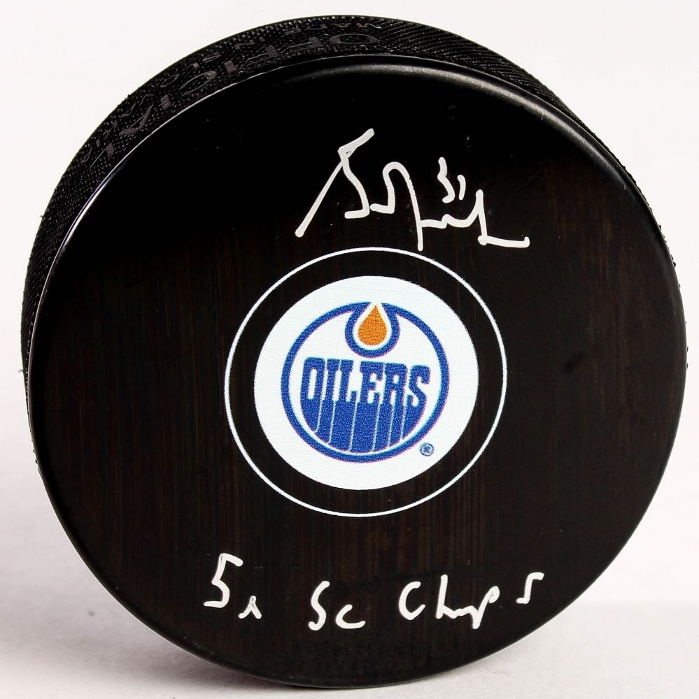 "Grant Fuhr Signed Oilers Logo Hockey Puck Inscribed ""5x SC Champs"" Schwartz COA"