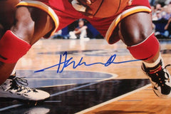 Hakeem Olajuwon Signed Rockets 23x27 Custom Framed Photo Display (JSA Hologram)