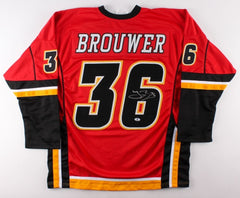 Troy Brouwer Signed Flames Jersey (Beckett) Ex Blackhawks Stanley Cup Winner