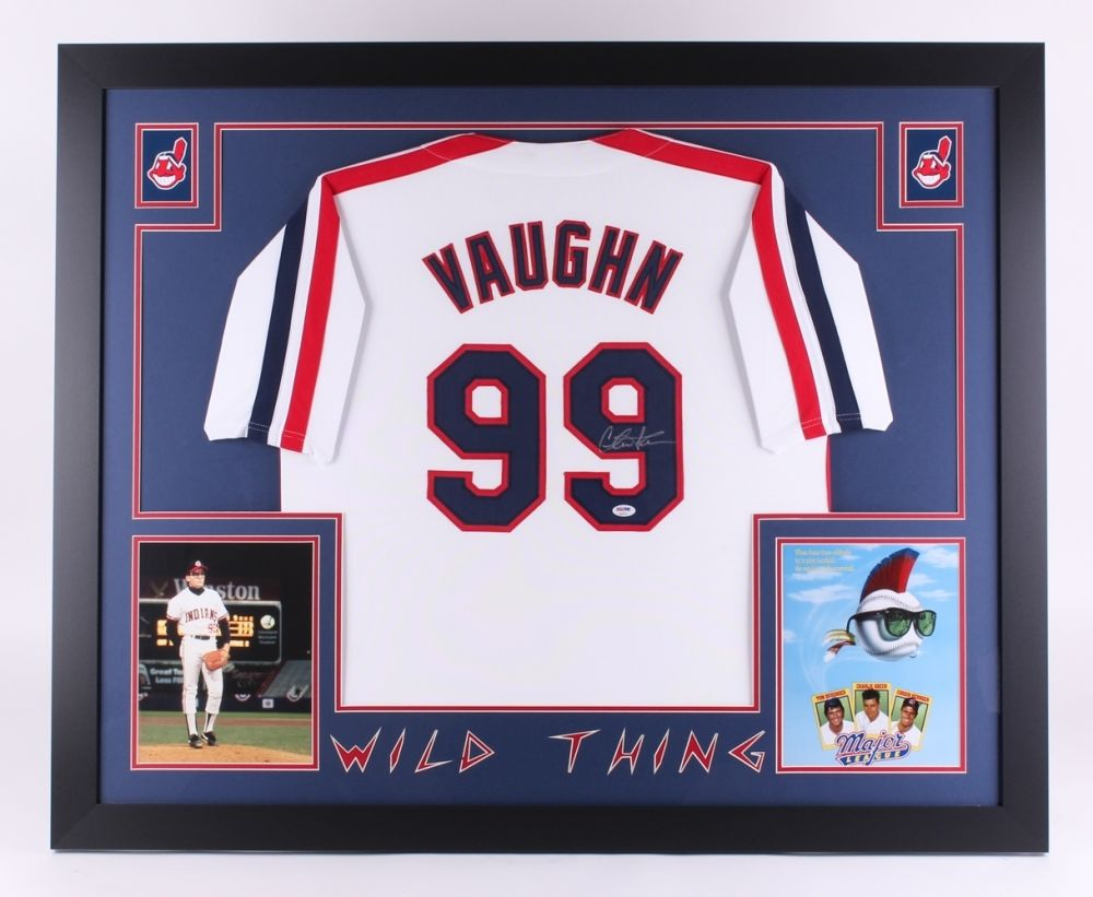 "Charlie Sheen Signed Major League ""Wild Thing""35""x43"" Custom Framed Jersey (PSA)"