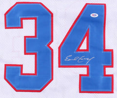 Earl Campbell Signed Oilers Career Highlight Stat Jersey (PSA) 5× Pro Bowl R.B.