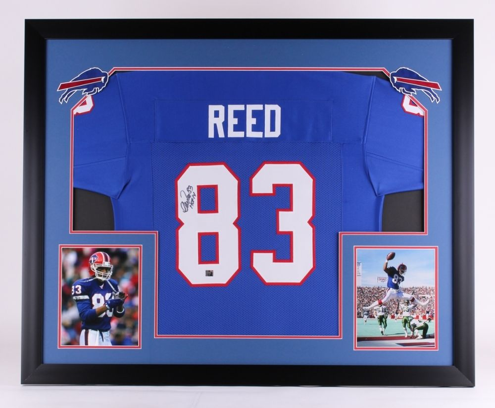 "Andre Reed Signed Bills 43""x35"" Custom Framed Jersey Display Inscribed ""HOF 14"""