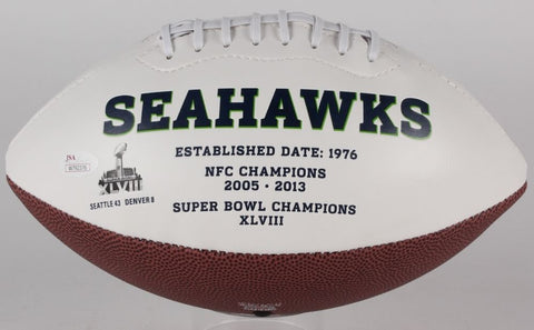 Cliff Avril Signed Seahawks Logo Football (JSA COA) Super Bowl Champion (XLVIII)