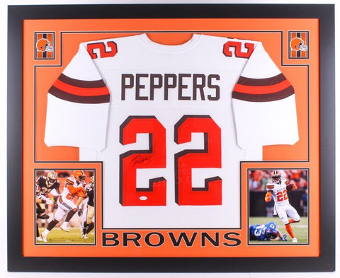 "Jabrill Peppers Signed Browns 35""x 43""Custom Framed Jersey (JSA) 2017 1st Rnd Pk"