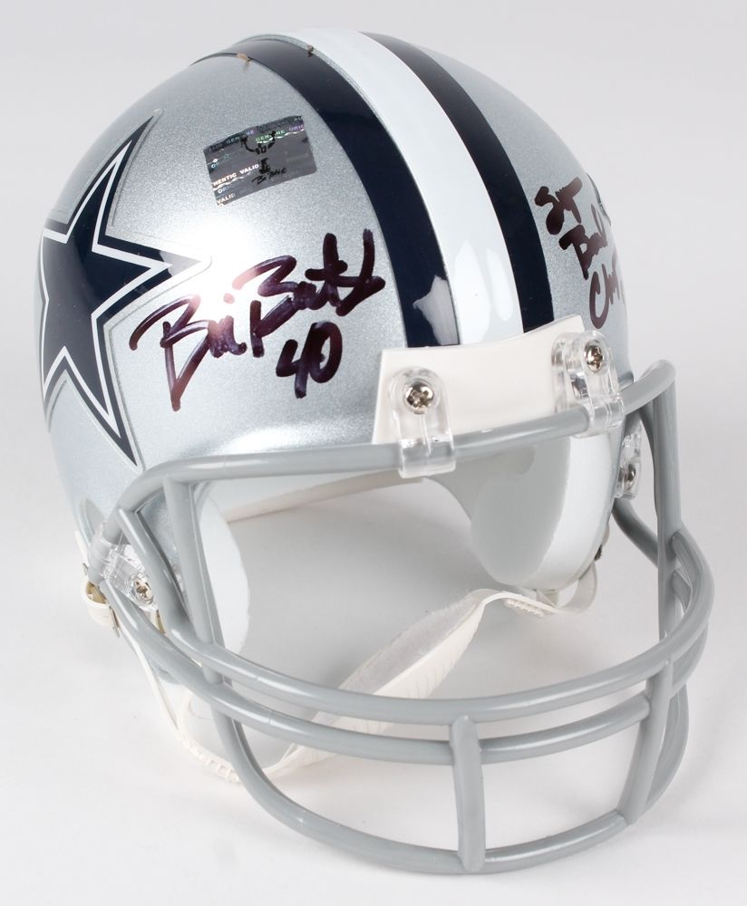 "Bill Bates Signed Cowboys Mini-Helmet Inscribed ""Super Bowl Champs 92-93-95"""