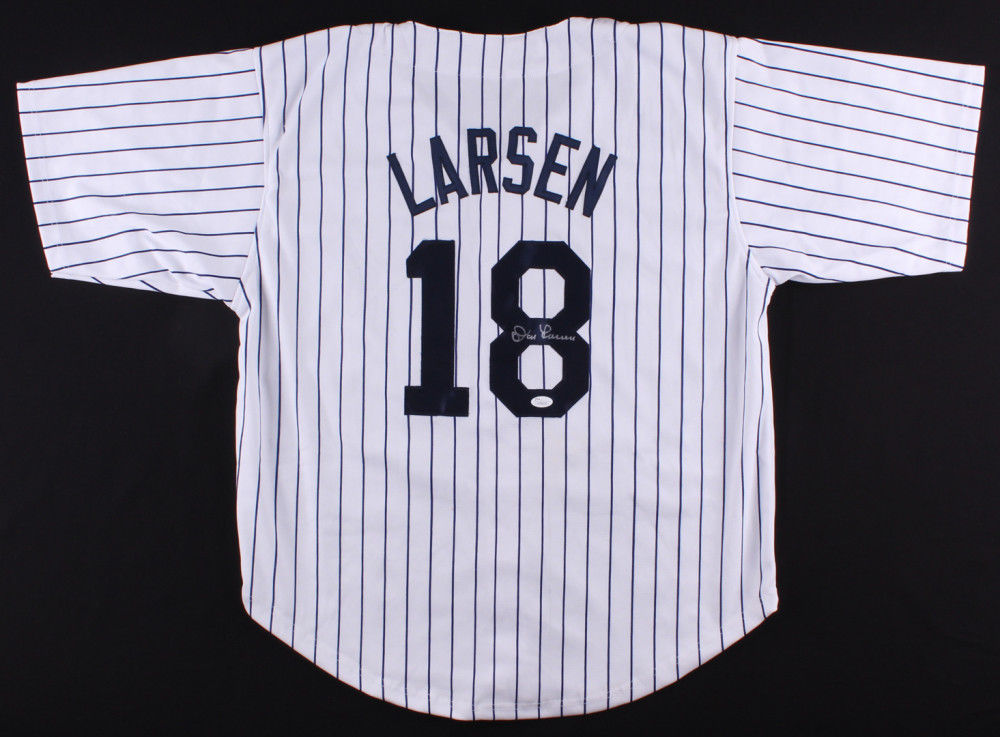 Don Larsen Signed Yankees Jersey (JSA) Pitched a Perfect Game 1956 World Series