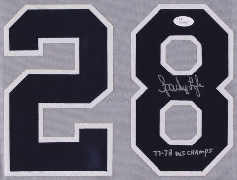 "Sparky Lyle Signed Yankees Jersey Inscribed ""77-78 WS Champs"" (JSA COA)"
