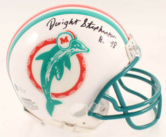 "Dwight Stephenson Signed Dolphins Mini Helmet Inscribed ""HOF 98"" (Beckett COA)"