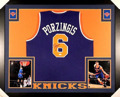 Kristaps Porzingis Signed New York Knicks 35x43 Custom Framed Jersey (JSA COA)