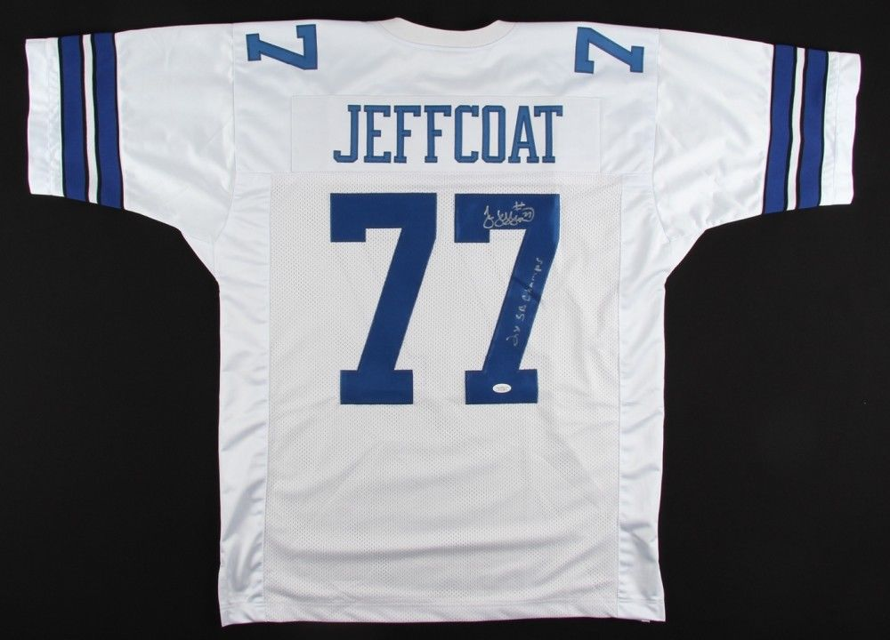 "Jim Jeffcoat Signed Cowboys Throwback Jersey Inscribed ""2x SB Champs"" (JSA Holo)"