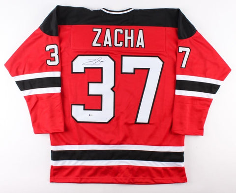 Pavel Zacha Signed Devils Jersey (Beckett COA) 6th overall pick, 2015 NHL draft