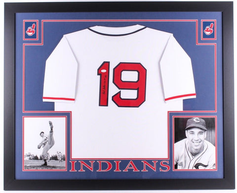 "Bob Feller Signed Indians 35""x 43"" Custom Framed Jersey Inscribed ""HOF 62"" (JSA)"