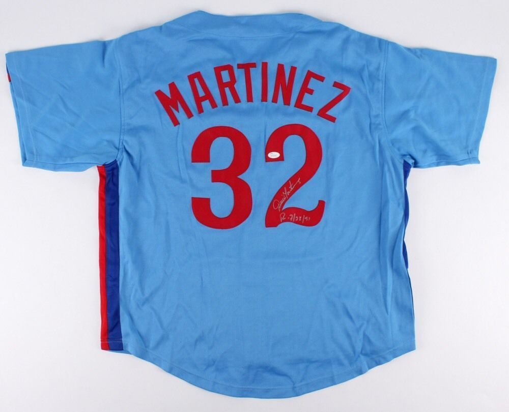 "Dennis Martinez Powder Blue Montreal Expos Signed Jersey El Presidente"" 245 Wins"